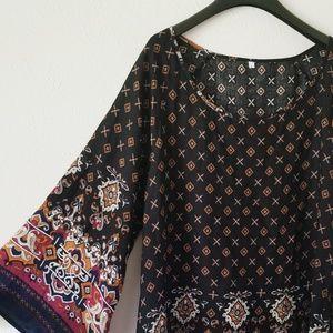 Shein Black Boho Chic Bell Sleeve Dress 407